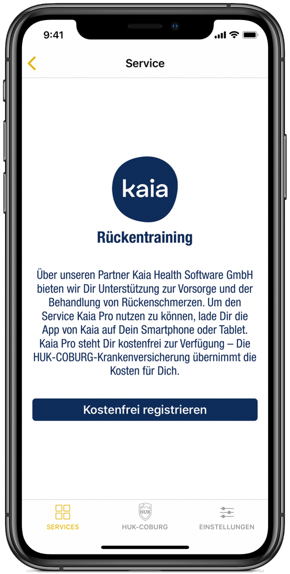 Screen der Premium Services: kaia Rückentraining