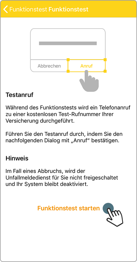 Funktionstest – Testanruf